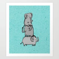 moomin Art Prints featuring Elephant Totem by Sophie Corrigan