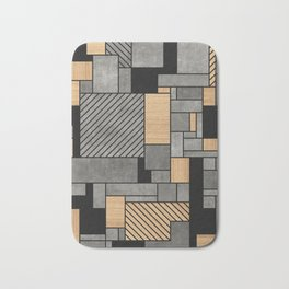Concrete and Wood Random Pattern Bath Mat