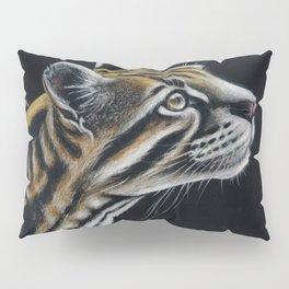 Ocelot Colored Pencil Art On Black Pillow Sham