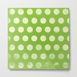 Polka Dots Mahogany Grain Green Metal Print