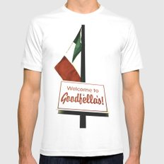 Welcome to Goodfella's! MEDIUM White Mens Fitted Tee
