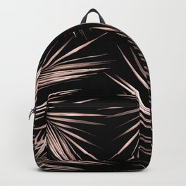 Rosegold Palm Tree Leaves on Midnight Black Backpack