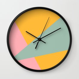 Beam Out - Mustard Yellow, Robin's Egg, and Pale Pink Wall Clock