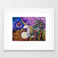 unicorn Framed Art Prints featuring Unicorn by CrismanArt