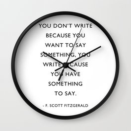 F Scott Fitzgerald, Writer Quote, Wall Clock