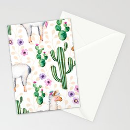 Colorful pattern cactus and lamas pattern Stationery Cards