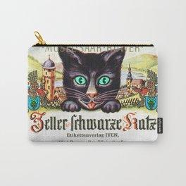 Vintage Zeller Schwarze Katz Black Cat Wine Bottle Label Print Carry-All Pouch