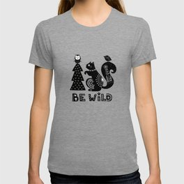 Be Wild Cute Owl And Squirrel In Scandinavian Style T-shirt