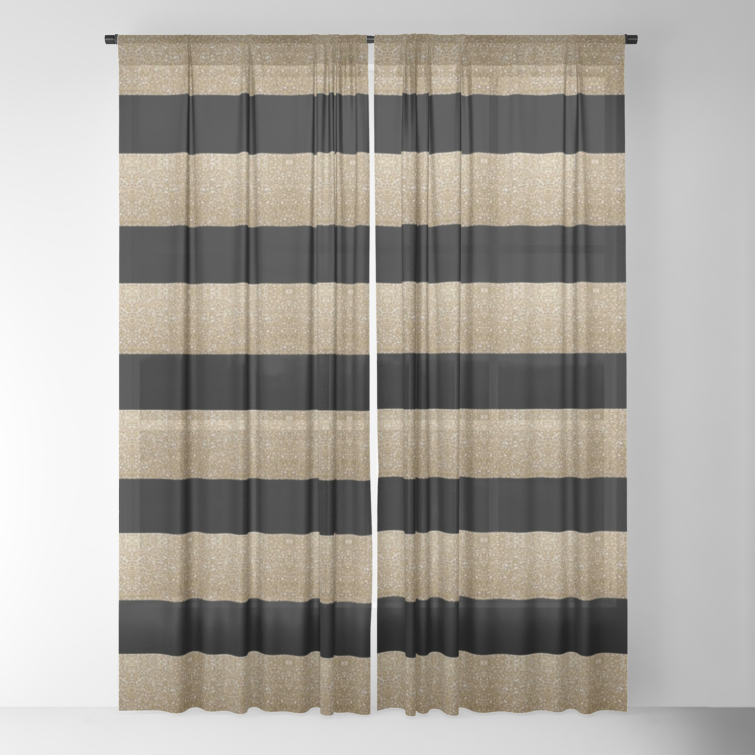 Preppy Contemporary Minimalist Great Gatsby Champagne Black Gold Stripes Sheer Curtain By Chicelegantboutique