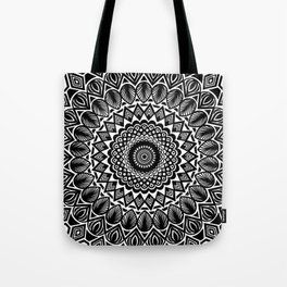 Detailed Black and White Mandala Tote Bag