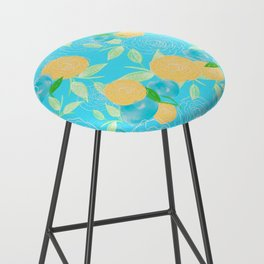 06 Yellow Blooms on Blue Bar Stool