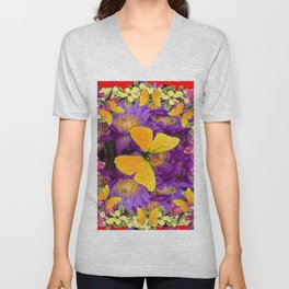 RED GOLDEN BUTTERFLIES PURPLE-YELLOW FLORAL Unisex V-Neck