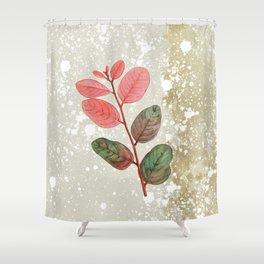 Vintage Pink Leaf Shower Curtain