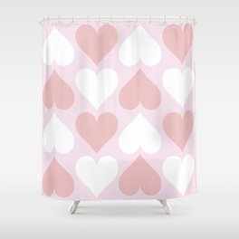 Big Heart Pattern - Pink and Living Coral Shower Curtain