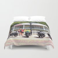 bikes Duvet Covers featuring Motor Bikes and Picket Fence by Glenn Designs
