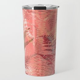 Elegant Coral Gold Fern Leaves Abstract Pattern Travel Mug