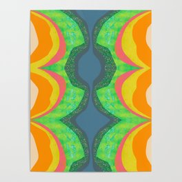 Shapes and Layers no.25 - Abstract painting Blue, Green, pink, yellow orange Poster