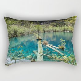 Blue water lake surrounded with greenery Rectangular Pillow