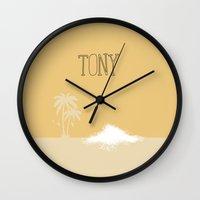 scarface Wall Clocks featuring Tony by Dean Latham