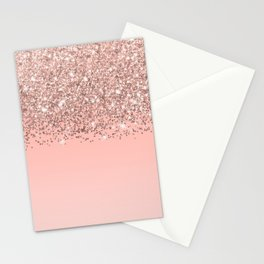 Girly Rose Gold Confetti Pink Gradient Ombre Stationery Cards