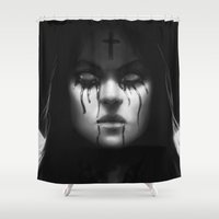 coven Shower Curtains featuring Branded (bnw) by rnlaing