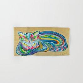 Hypnotic Rainbow Cat on neutral background Hand & Bath Towel