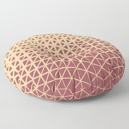 Red and Peach Geometric Triangle Wave Pattern 2021 Color of the Year Passionate and Pale Apricot Floor Pillow