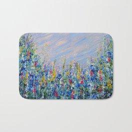 Blue Bells and Cockle Shells, Blue Floral Landscape Bath Mat