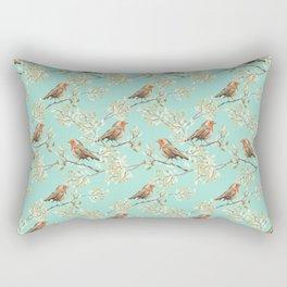 Vintage Redbreast Robin Pattern Rectangular Pillow