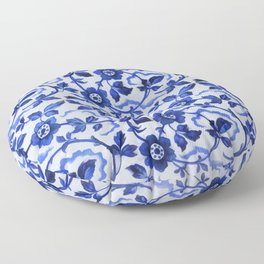 Azulejos blue floral pattern Floor Pillow