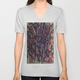 Watercolor Abstract Purple Flower Painting Unisex V-Neck