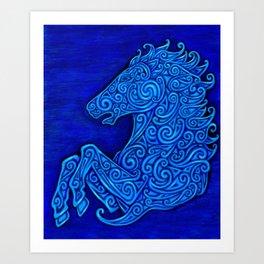 Blue Celtic Horse Abstract Spirals Art Print