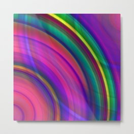 Interweaving curved semicircles with a crisp eggplant accent and all the colors of the rainbow. Metal Print