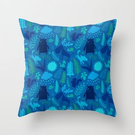 PNW Forest in Bay Blue Throw Pillow
