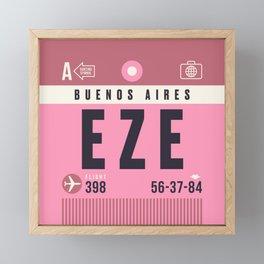 Baggage Tag A - EZE Buenos Aires Ezeiza Argentina Framed Mini Art Print