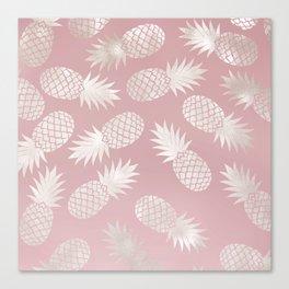 Blush Pineapple Pattern Canvas Print