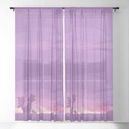 Lavender Joshua Sunset - Pop_Art Sheer Curtain