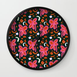 Candy flowers and easter - dark pattern Wall Clock