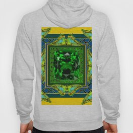 YELLOW  DECORATIVE  GREEN EMERALD GEM & BUTTERFLY ART Hoody