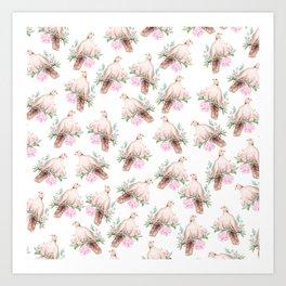 Hand painted modern pink brown watercolor peonies dove pattern Art Print