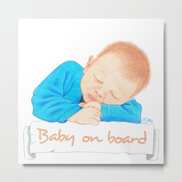 Baby on board - Blue EN Metal Print