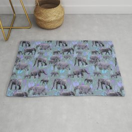 Sweet Elephants in Purple and Grey Rug