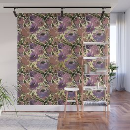 Botanical lavender purple ivory brown floral Wall Mural