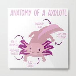 Anatomy Of Axolotl Water Aquarium Pet Animal Gift Metal Print