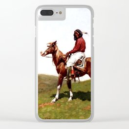 "Western Art ""Comanche Brave"" by Frederic Remington Clear iPhone Case"