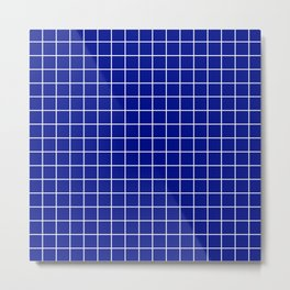 Phthalo blue - blue color -  White Lines Grid Pattern Metal Print