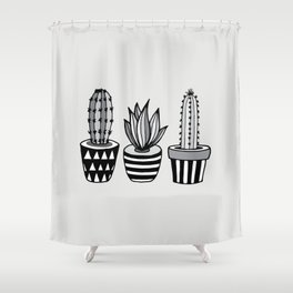 Cactus Plant monochrome cacti nature greyscale illustration floral succulent leaf home wall decor Shower Curtain