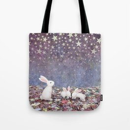 bunnies under the stars Tote Bag
