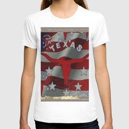 Texas Red & White Americana Longhorn Logo Pattern Art T-shirt