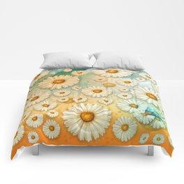 """Turquoise Moth &  Marguerites"" Comforters"